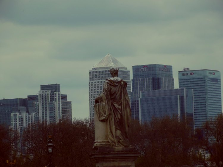By Wisdom as Much as War. King George II statue looks out over Canary Wharf